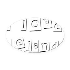 I Love Leland Oval Car Magnet