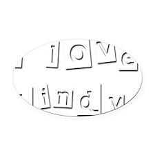 I Love Lindy Oval Car Magnet