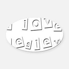 I Love Lesley Oval Car Magnet