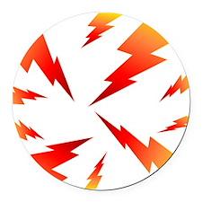 FSW lightning bolt BACK Round Car Magnet