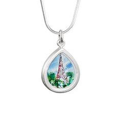 Eiffel Tower Silver Teardrop Necklace
