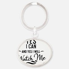 magnet black transparent Yes I can Oval Keychain