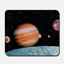 Jupiter and the Galilean moons seen from Mousepad