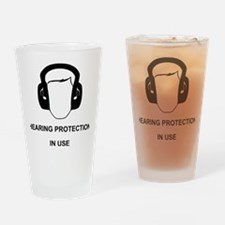 Hearing Protection with Text Black Drinking Glass