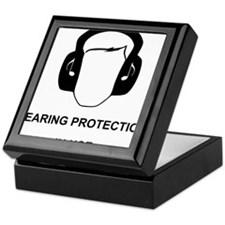 Hearing Protection with Text Black Keepsake Box