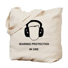 Hearing Protection with Text Black Tote Bag