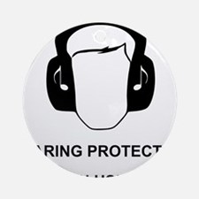 Hearing Protection with Text Black Round Ornament