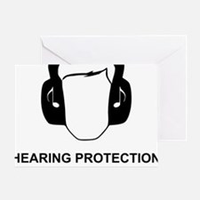 Hearing Protection with Text Black Greeting Card