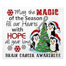 D Brain Cancer Holiday Penguins King Duvet