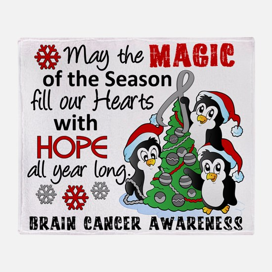 D Brain Cancer Holiday Penguins Throw Blanket