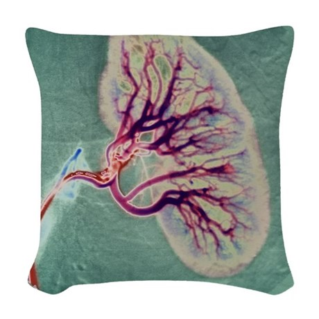 Kidney blood supply Woven Throw Pillow