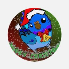 Christmas Budgie Round Ornament
