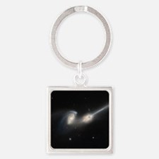 Mice colliding galaxies Square Keychain