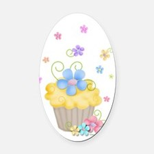 Cupcakes and Flowers Oval Car Magnet