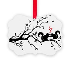 Squrrels with red hearts on tree  Ornament
