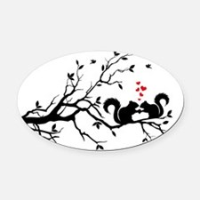 Squrrels with red hearts on tree b Oval Car Magnet