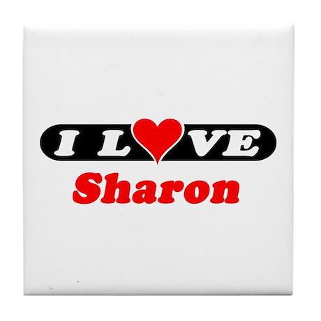 I Love Sharon Tile Coaster