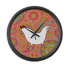 Paisley Chicken Large Wall Clock
