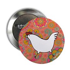 "Paisley Chicken 2.25"" Button"