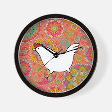 Paisley Chicken Wall Clock