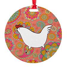 Paisley Chicken Round Ornament