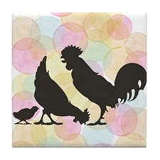 Chicken And Rooster Tile Coaster