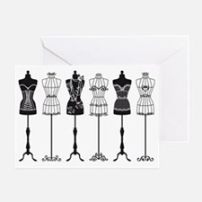 Vintage fashion mannequins silhouett Greeting Card