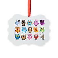 Colorful cute owls Ornament
