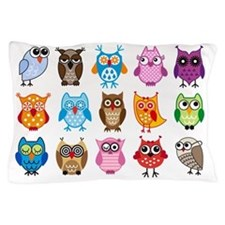 Colorful cute owls Pillow Case