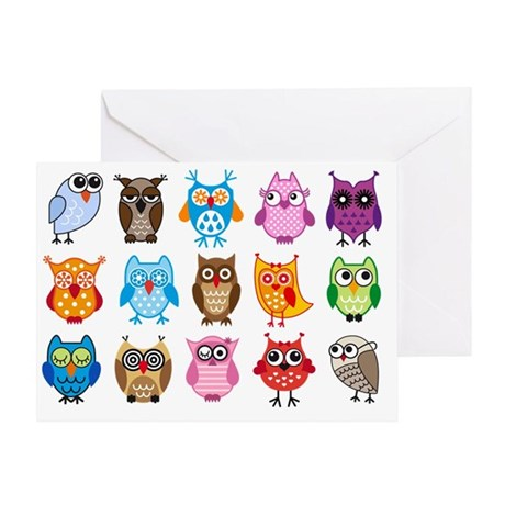 Colorful cute owls Greeting Card