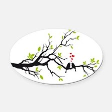 Birds in love with red hearts on s Oval Car Magnet