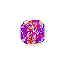 Squiggly Pink Purple Orange Heart Jewe Mini Button