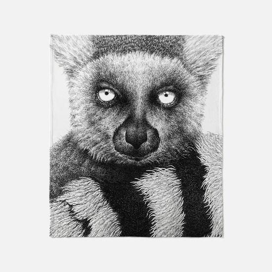 Ring-tailed Lemur Large Framed Print Throw Blanket