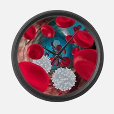 Red and white blood cells Large Wall Clock