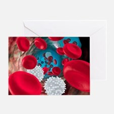 Red and white blood cells Greeting Card