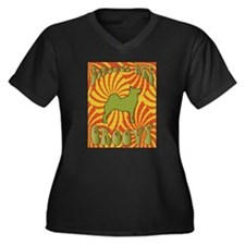 Groovy Buhunds Women's Plus Size V-Neck Dark T-Shi