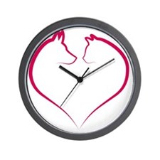 Cat and dog faces in red heart silhouet Wall Clock