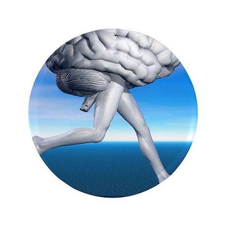 "Running brain, conceptual artwork 3.5"" Button"