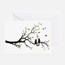 Cats in love with red hearts on spri Greeting Card