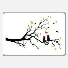 Cats in love with red hearts on spring tree Banner
