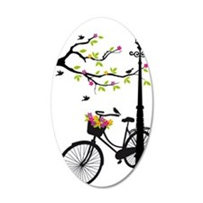 Old bicycle with lamp, flowe Wall Decal