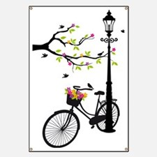 Old bicycle with lamp, flower basket, birds Banner