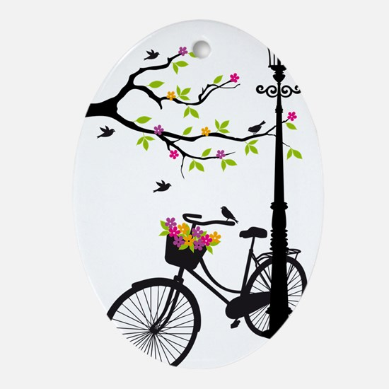 Old bicycle with lamp, flower basket Oval Ornament