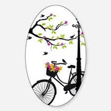 Old bicycle with lamp, flower baske Sticker (Oval)