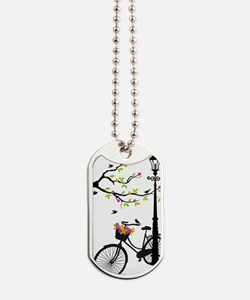 Old bicycle with lamp, flower basket, bir Dog Tags