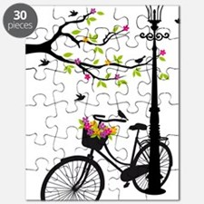 Old bicycle with lamp, flower basket, birds Puzzle