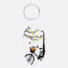 Old bicycle with lamp, flow Keychains