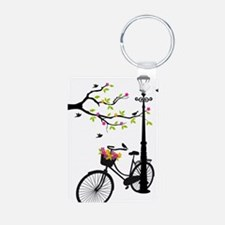 Old bicycle with lamp, flo Keychains