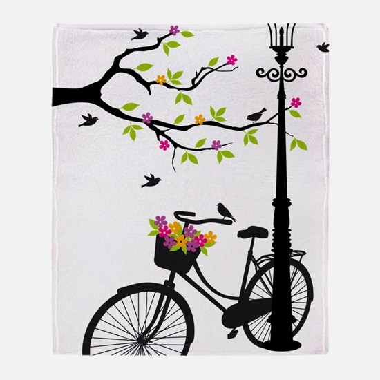 Old bicycle with lamp, flower basket Throw Blanket