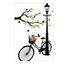 Old bicycle with lamp, fl Postcards (Package of 8)